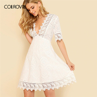 COLROVIE White V Neck Guipure Lace Trim Schiffy Fit And Flare Boho Dress Women 2019 Summer Zipper Mini Vestidos Holiday Dresses