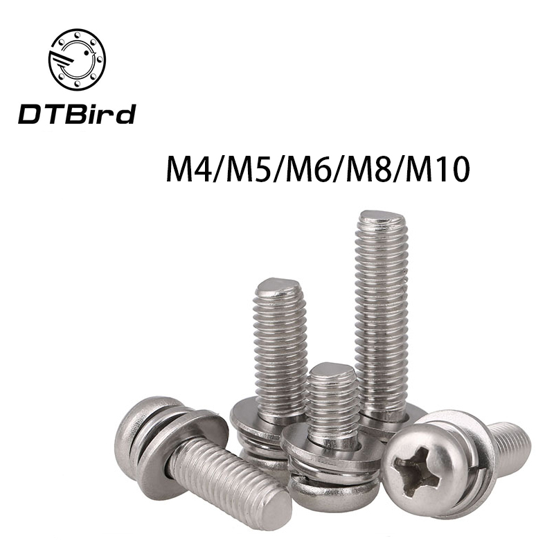 304 stainless steel round head Three combination screw M4 M5 M6 M8 M10 2017 hot sale new style din912 304 stainless steel screw hex socket screws cup head cylindrical head three combination m2 5 m3 m4 m5 m6 m8 screw washer