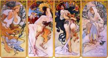 Four Seasons by Alfons Mucha circa by Alphonse Mucha Canvas art Painting High quality Hand painted