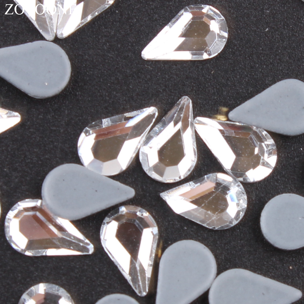 ZOTOONE 50pcs 5 8mm Self adhesive Rhinestones Nail Art Decorations Strass Hotfix DIY Drop Shape Rhinestones Glass on Clothes E in Rhinestones from Home Garden