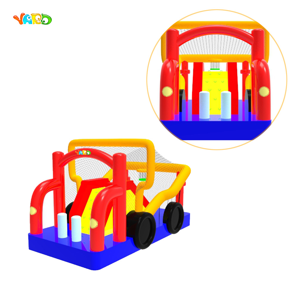 Car Inflatable Combo Bouncy Castle Bouncer with Slide and Net commercial sea inflatable blue water slide with pool and arch for kids