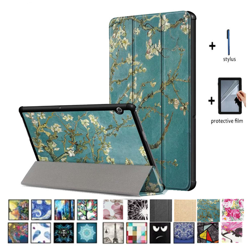 Leather Case For Huawei Mediapad T3 10 Case Colorful Print Tablet PC Stand Cover For Huawei MediaPad T3 10 AGS-L09 AGS-W09 9.6