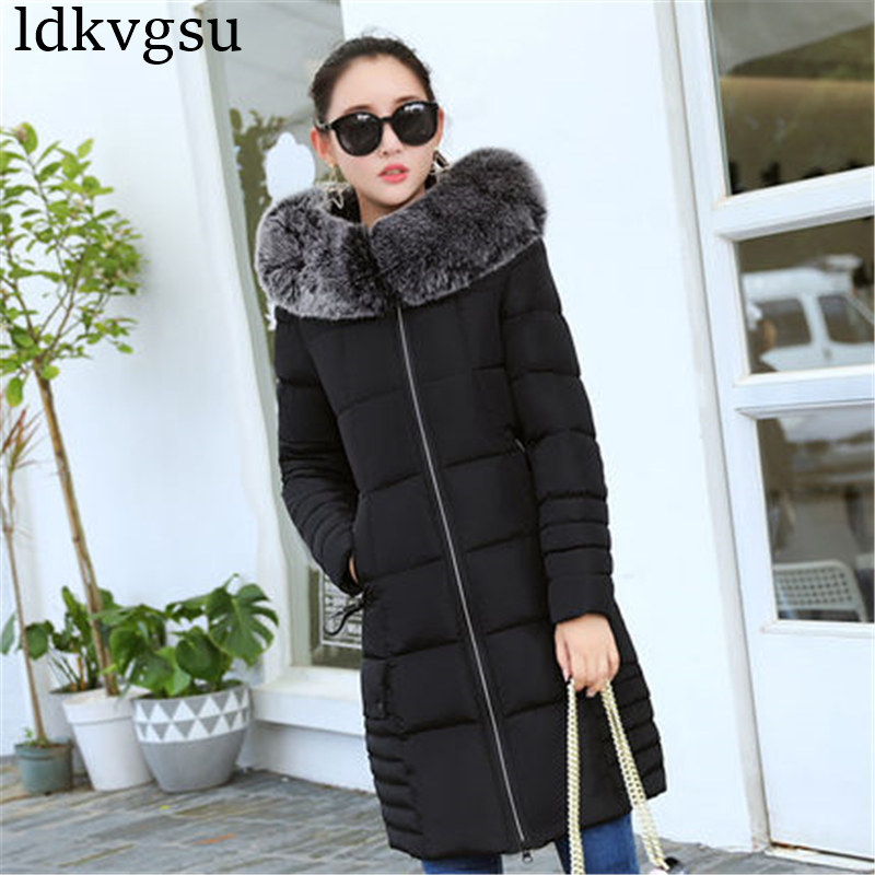 Image 4 - 2019 Women Winter Jackets Down Cotton Hooded Coat Plus Size Parkas Mujer Coats Long Coat Fashion Female Fur collar Coats A1297-in Parkas from Women's Clothing