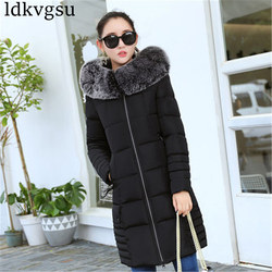 2019 Women Winter Jackets Down Cotton Hooded Coat Plus Size Parkas Mujer Coats Long Coat Fashion Female Fur collar Coats A1297 4