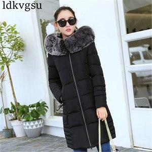 Image 4 - 2020 נשים חורף מעילים למטה כותנה ברדס מעיל בתוספת גודל מעיילי Mujer מעילי ארוך מעיל אופנה נשי פרווה צווארון מעילים a1297