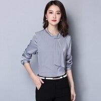 Темперамент лента шелковая рубашка женская с длинными рукавами 2018 новый тонкий о образным вырезом тонкий шелк блузки рубашки женские элега