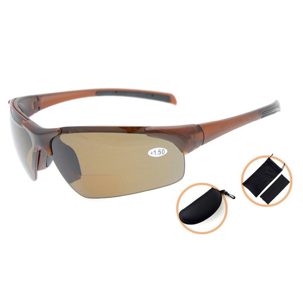 TH6186PGSG Eyekepper TR90 Unbreakable Sports Polycarbonate Polarized Half Rimless Bifocal Sunglasses