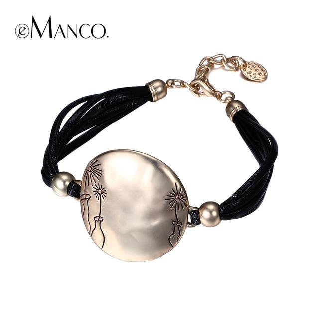 2016 nova eManco rodada liga pulseiras para as mulheres negras arte escultura de cera corda pulseira planta gravura metal multilayer cadeia