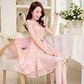 2016 novos Coreano Senhoras Vestido longo Vestido de Chiffon Renda fino