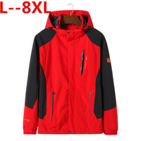 8XL 6XL 5XL Men's Casual Waterproof Jacket Spring Autumn Tourism Windbreaker Bomber Jacket Male Raincoat Windproof Hooded Coat