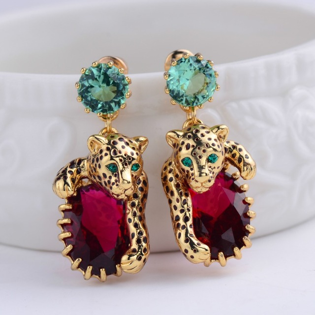 France Les Nereides Leopard Red Green Gem Drop Earrings For Women Brand Party Jewelry Good Gift Luxury Elegant