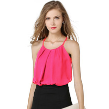 WomensDate Fashion Women Casual Chiffon Tank Tops Camisole Vest Simple Stretchable Ladies O Neck Slim Sexy Strappy Camis Tops