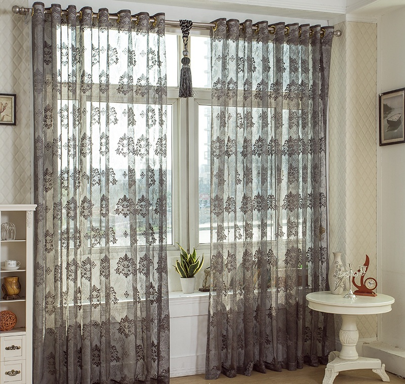 European Style Custom Made Solid Color Damask Design Brown White Window  Screening Drape Hook Tube Style Tulle Sheer Curtain