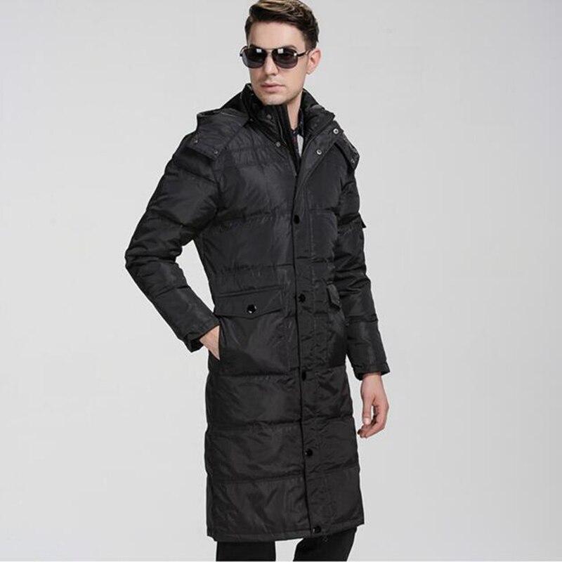 Plus size  down coat male long design  white duck down lengthen over-the-knee men