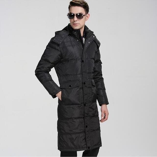 Tamaño más abajo de la capa masculina del diseño largo de pato blanco abajo alargar over-the-knee ropa de los hombres gordos ropa 5XL 6XL 7XL 8XL