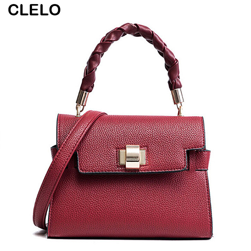 CLELO 2017 New Fashion Design Handbags Women Bags Lichee Pattern All-Matched Pu Leather Shoulder Bag Female Small Clutch Handbag