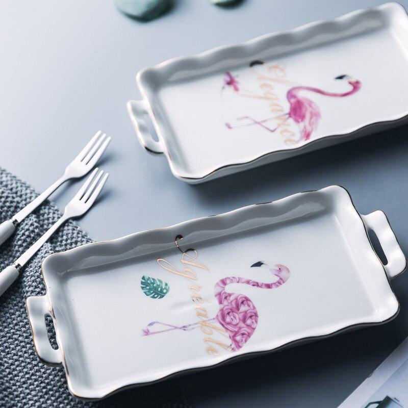 Flamant rose en céramique apéritif plat plateau bijoux Dessert Snack assiette assiette carrée plat décoratif plateaux Set vaisselle vaisselle