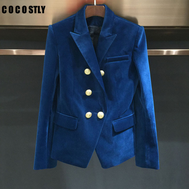 2016 NWE Spring Fashion Women Midnight NAVY Slim Velvet Blazer Jacket Double Breasted simple Lady Blazers