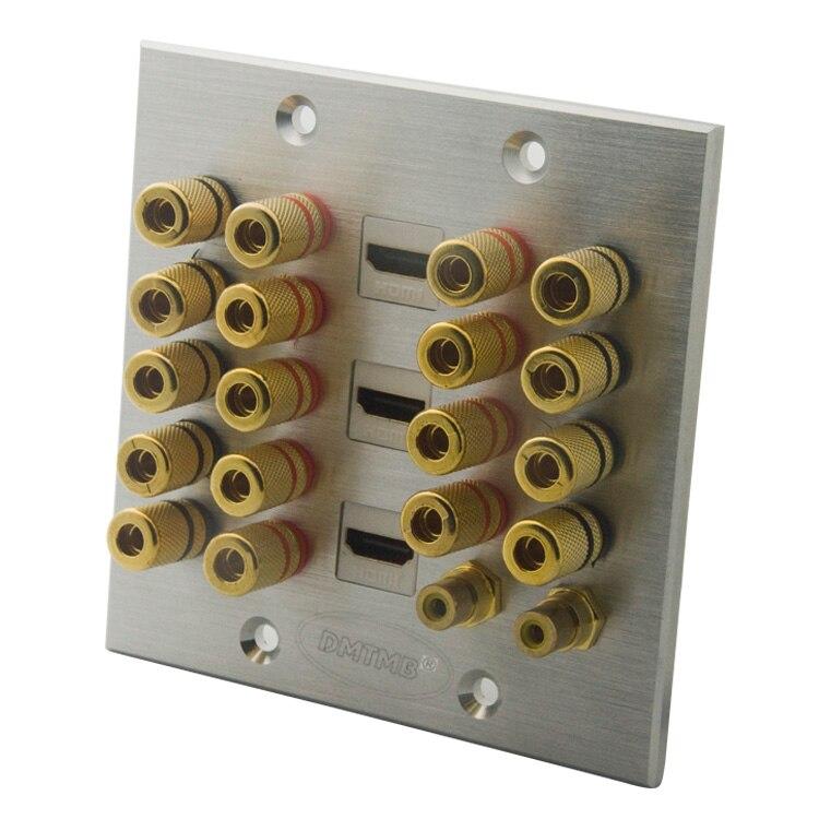 Алюминиевая лицевая пластина 120X120 мм с 18 портами bananna, 2 портами RCA, 3 портами HDMI настенная пластина и поддержка DIY