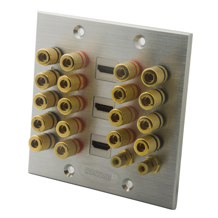 120X120mm plaque frontale En Aluminium avec 18 ports bananna, 2 ports RCA, 3 ports HDMI plaque murale et support BRICOLAGE