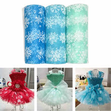 15cm*10Yard Glitter Snowflake Sheer Crystal Organza Tulle Roll Fabric Spool Organza Baby Shower Tutu Skirt Wedding Decoration. Q(China)