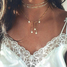 New Boho Jewelry Multi Layer Beads Choker Necklaces for Women Sexy Star Fashion Pendant Vintage Collier choker Necklace цены