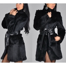 SWYIVY Women Coat Mixed Fur Fashion Furry Faux Warm Long Sleeve Outerwear Female Autumn Winter Jacket Hairy
