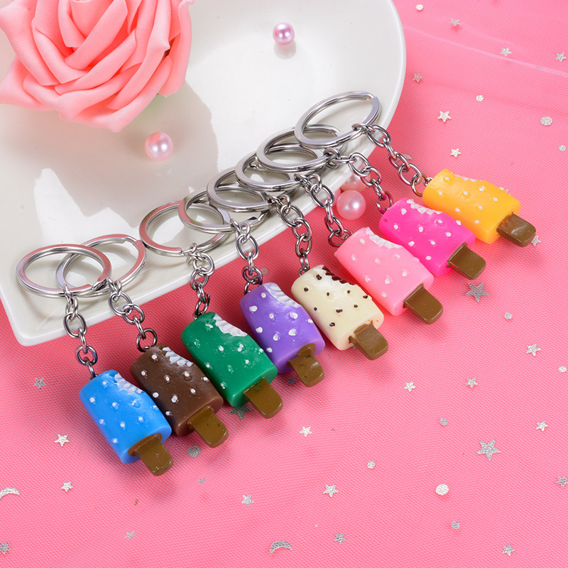2019 New Popular 5pcs lots Random Mixed Color Sweet Ice cream Key Rings Chains Pendant Ornament For bag car Keychain Hot in Key Chains from Jewelry Accessories