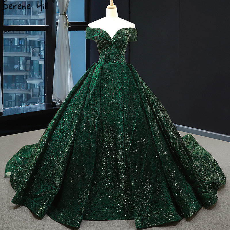 Latest Design Green Lace Sequined Wedding Dress 2019 Sweetheart Sexy Luxury Bridal Gowns Serene Hill 66742 Custom Made
