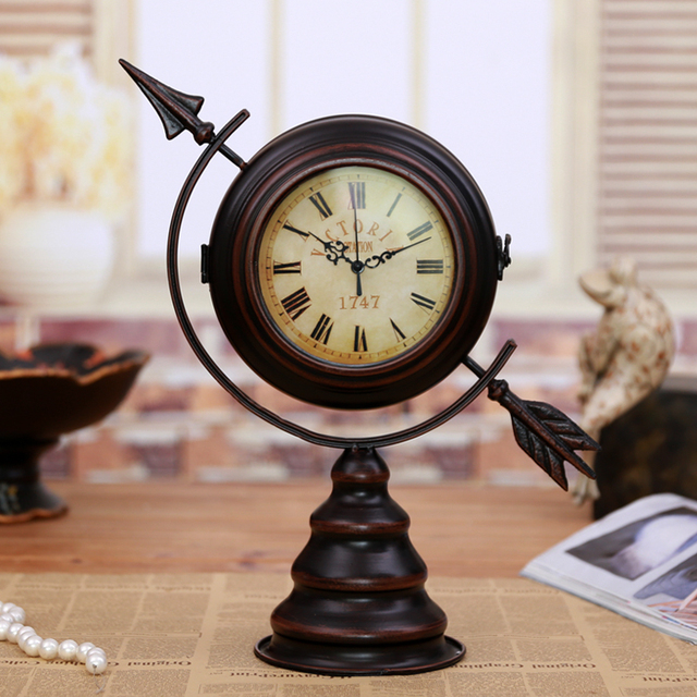 Antique Metal Globe Sphere Mute Double Face Desk Clock Decorative Vintage Iron Art Craft Ornament Accessories
