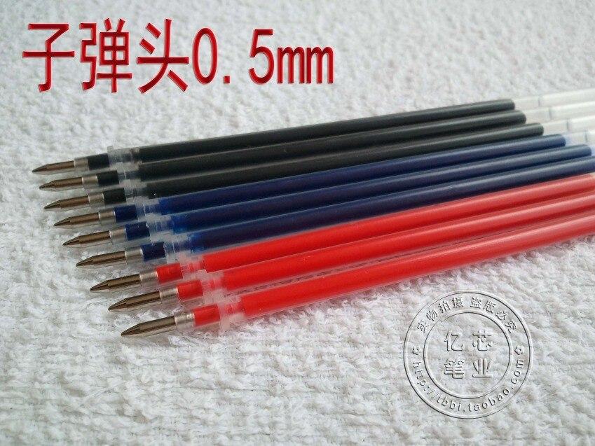100 шт./лот гелевая ручка чернил 0.5 пуля иглы чернила черный красный синий воды ручка пополнения