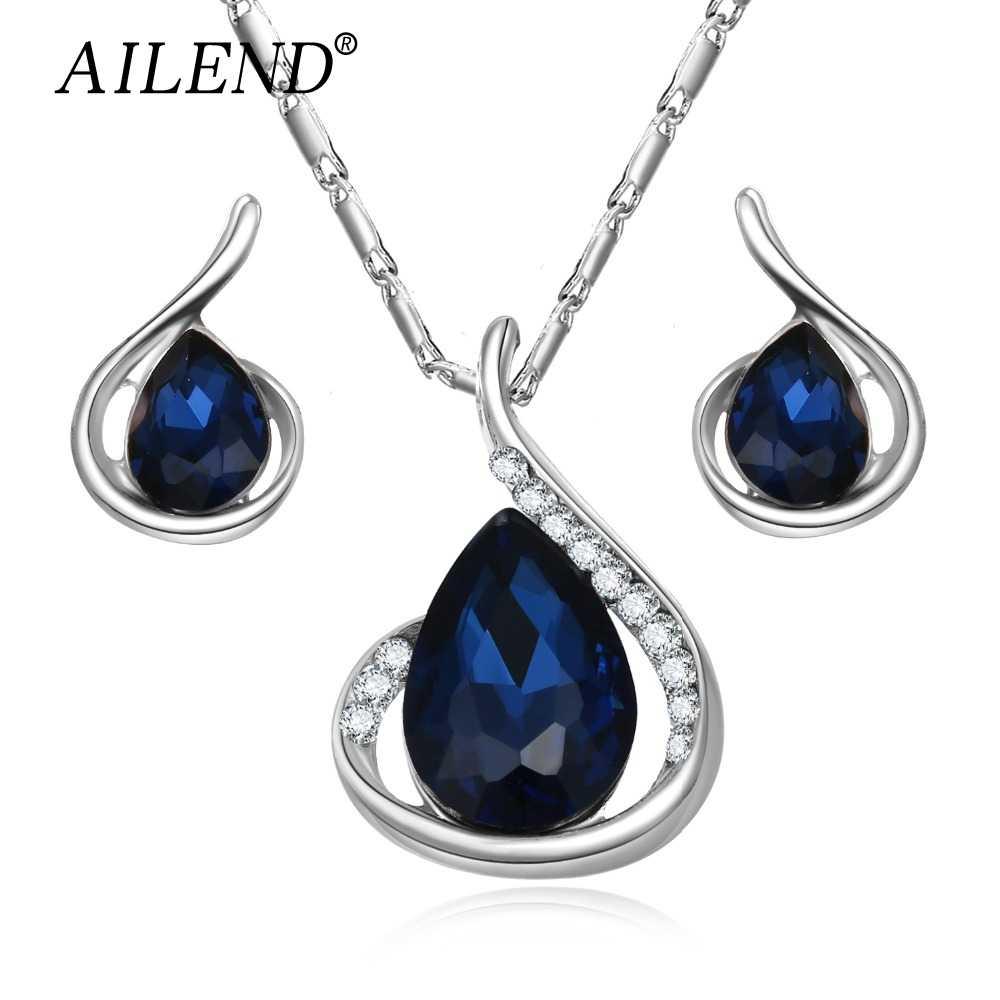 VKME Mode Ohrringe Halsketten Schmuck Sets Gestüt Bolzen Wasser tropfen anhänger Ohrringe Für Frauen Silber Farbe Romantische Schmuck