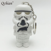2017 Star Wars Keychain The Force Awakens LED Flashlight Key Chains Darth Vader Anakin Skywalker figure white pawn keyring Sound
