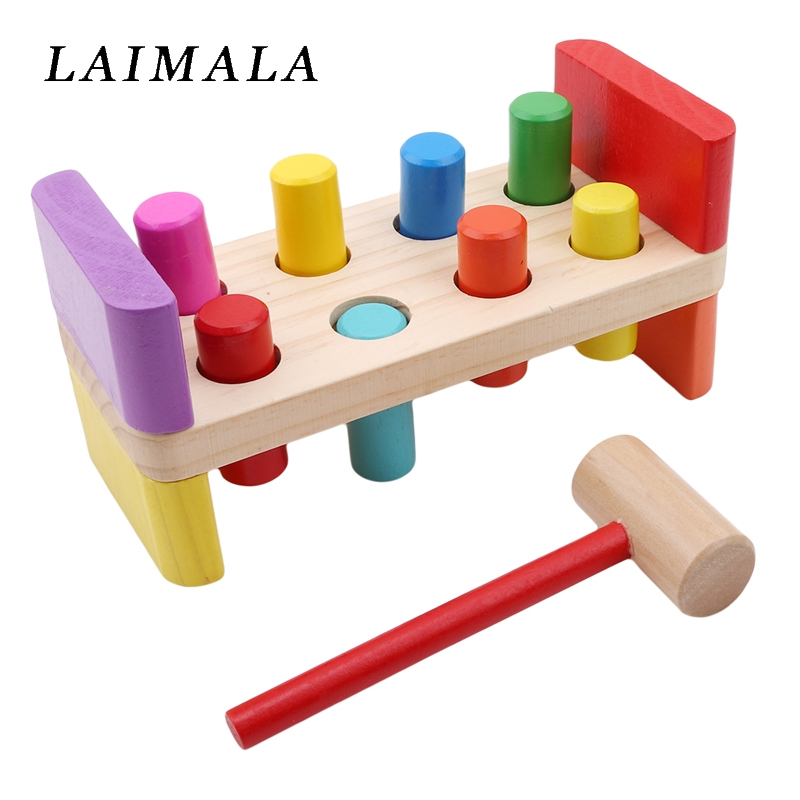 Wooden Pounding Bench With Hammer Kids Preschool Toys Multifunctional Tool Maintenance Box Baby Nut Combination Birthday Gift