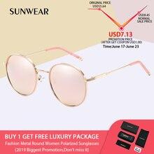 aa3055d5e SUNWEAR 2019 ريترو جولة نظارات شمسية مستقطبة النساء أنيق المعادن في الهواء  الطلق الرجال النظارات الشمسية
