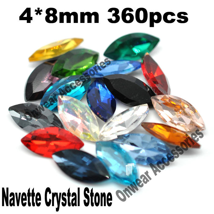 360pcs/lot 4*8mm Navette Crystal Glass Fancy Stones Pointed Back Horse <font><b>Eye</b></font> Rhinestone Beads For Garments Decoration 30Colors