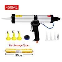 Air Pneumatic Sealant Gun Silicone Pistol With Pistons Adhesive Gun Kit Joint Seal Construction Tools 450ml Sausage Caulking Gun
