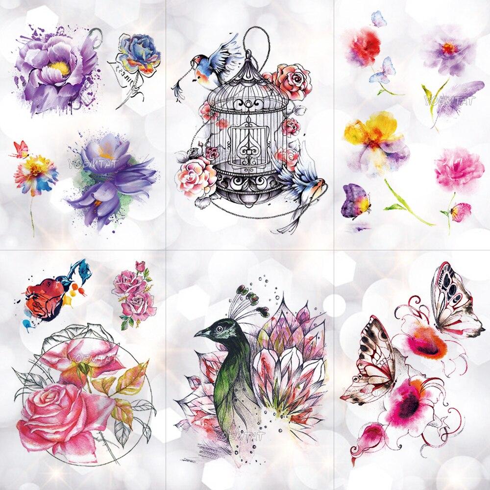 Vogel Käfig Pfau Blumen Wasserdicht Temporäre Tätowierung Aufkleber Körper Kunst Arm Aquarell Zeichnung Tattoo Schmetterling Rose Gefälschte Tattoo Diversifiziert In Der Verpackung