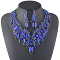 New Luxury Royal Blue Crystal royal blue Bridal Jewelry Set For Brides Necklace Earring Wedding Party Accessories Plants