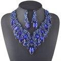 Novo Luxo Azul Royal azul royal de Cristal Conjunto De Jóias de Noiva Para As Noivas Festa de Casamento Colar Brinco Acessórios Plantas