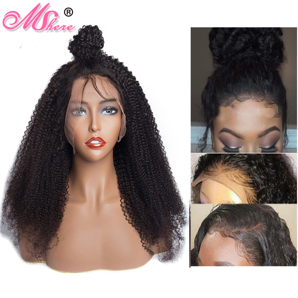 Mshere 13x4 HD Mongolian Afro Kinky Curly Lace Front Human Hair Wigs With Baby Hair Pre