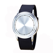 Мода Пара Сенсорный экран круговой узор силиконовой лентой светодиодных наручные часы свободного падения Montre Homme Часы из нержавеющей стали au3