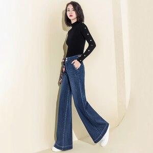 Image 4 - Women Denim High Waist Jeans Wide Leg Pants Vintage Baggy Pants Casual Loose Full Length Pants Drawstring Palazzo Retro Trousers