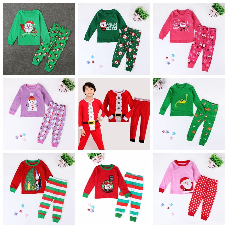 New Santa Claus Kids Pajama Sets Tops+Pants Children Sleepwear Boys Girls Nightwear Family Christmas Pyjamas
