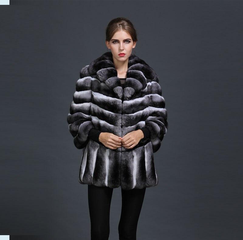 Topest Manteau D'hiver 2017 Mme Élégant 100Chinchilla De Luxe Fourrure Nouveau Style Noir Dames Arrivée Russie ULSMjzGqVp