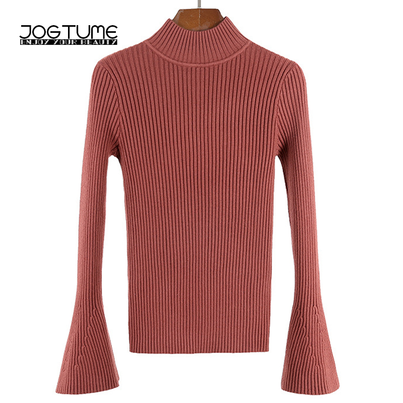JOGTUME Women Warm Sweater for Christmas 2017 Winter High Elastic Slim Turtleneck Pullover Flare Sleeve Female Sweater Coat