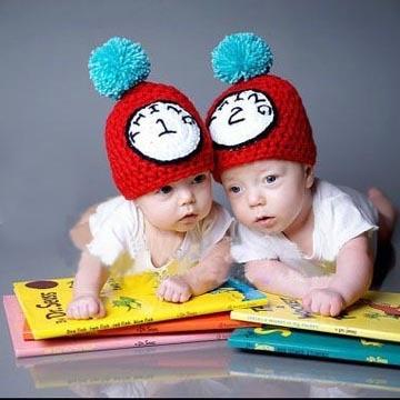 twin baby boy girl hats new cute handmade cotton clock baby child knit hat cap newborn photo prop crochet halloween costume 3 6m in hats caps from mother