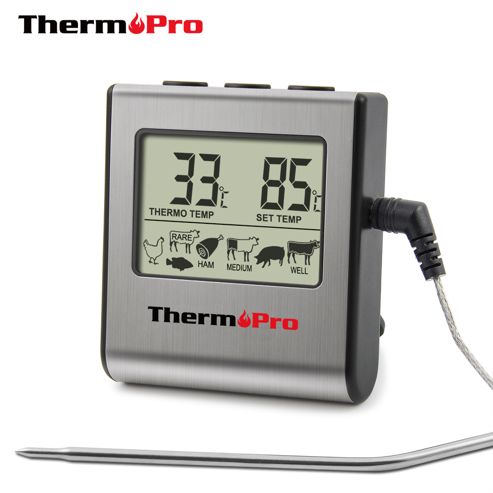 ThermoPro TP-16 Digital Thermometer For Oven Digital Lcd Display Probe Food Thermometer Timer Cooking Kitchen Bbq Meat(China)