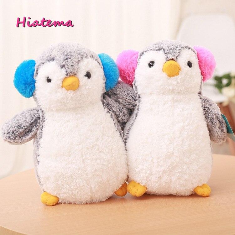Hiatema Cute Korea Penguin with Earphone Plush Toys Staffed Soft Animal Plush Toys Dolls Toys Childrens Gift Kids Doll