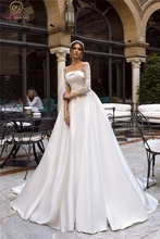 2019 A-line Wedding Dresses Satin with Lace Appliques Bridal Gowns Illusion Three Quarter Sleeve vestido de noiva Custom Made